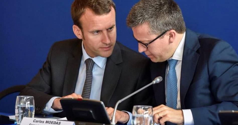 Macron e Carlos Moedas.